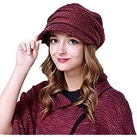 WE&ZHE Female Berretti poliestere Fold viaggio marea di moda tenere al caldo in autunno e inverno Profondo rosso