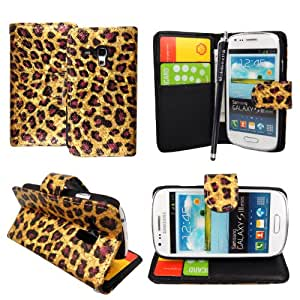 For Samsung Galaxy S3 III Mini i8190 Gold Brown Leopard Book Type Printed Sparkly Pouch PU Leather Magnetic Flip Case Cover + Stylus + Guard