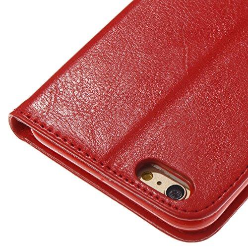 Cover iPhone 6 Rosso, Custodia iPhone 6S, YingC-T iPhone 6 6S Custodia a Libro Flip Magnetica e Porta Carte di Credito con Cordino Bracciale Elegante Colorato Stampato Farfalla Fiori Design Skin pu Po Rosso
