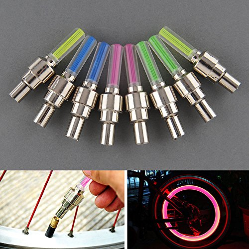 Preisvergleich Produktbild Sedeta 8Pcs Farben-Fahrrad-Fahrrad Auto-Rad-Reifen Ventilkappe Reifen Lichter Speiche Neon LED-Licht