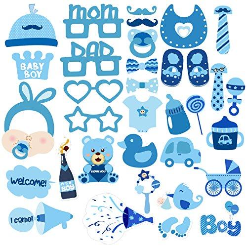 evorzugungen Dusche Foto Requisiten Baby Flasche Masken Photobooth Requisiten Pack 34pcs (Baby-mädchen-dusche Partei Begünstigt)