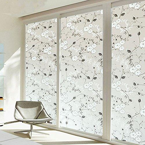 Kicode Flower 3D Patrón autoadhesivas película de la ventana etiqueta engomada para cristal de ventana, Sala de reuniones, baño, dormitorio, sala de estar (flores blancas Night)