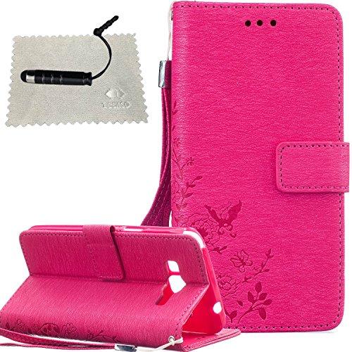 Flip Cover for iPhone 6s Plus,Custodia in Pelle per iPhone 6 Plus,TOCASO Anti-Theft Chiusura Magnetica Puro Morbido Custodia Protettiva Farfalla Fiori Modello Bumper Wallet Case Sottile Borse Donna Li Rose