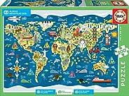 Educa Borras-200 World Map, Sean Sims-SOS Children´s Villages Puzzle, Colore Vario, 17727