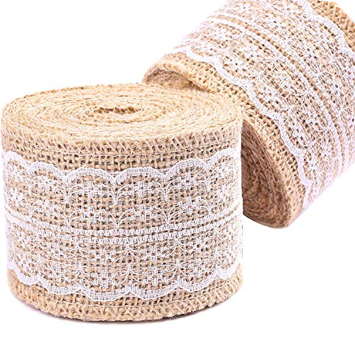 Whaline 2 Rolls Burlap Ribbon Roll with White Lace for DIY Handmade Wedding Crafts Lace Linen, 315 Inches