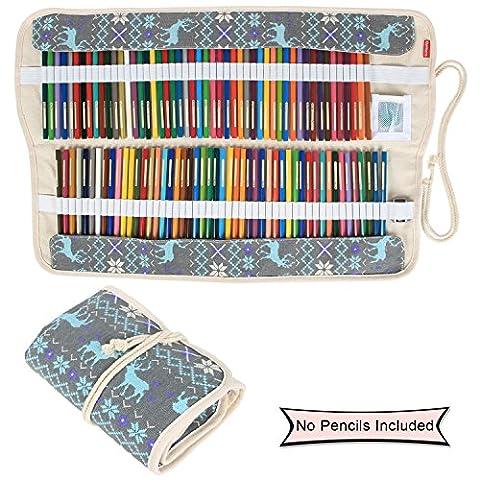 Damero Faltbare Stifterolle für 72 Buntstifte und Bleistifte, aus Canvas, Roll-up Mäppchen für Künstler, Verpackung (Piccolo Elk)