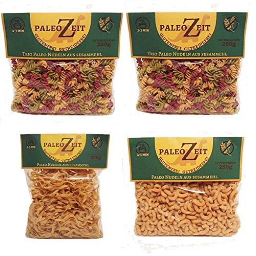 4x PALEO Nudeln aus Sesammehl LOW CARB Pasta GLUTENFREIE Nudeln Gourmet Delikatesse 4x 250g (2x Bunte Spiral - 1x Bandnudel - 1x Hörnchen)