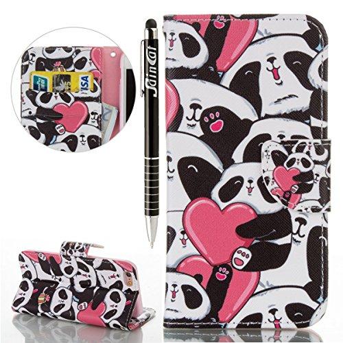 iPhone 6S Plus Hülle, iPhone 6 Plus Hülle, SainCat PU Leder Tasche Schutz Case Cover Schutzhülle Ledertasche im BookStyle Hülle Schutzhülle Brieftasche Ultra Slim Stand Lederhülle Etui mit Karikatur M Cartoon Panda