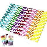 aplanet 150unidades pajitas de papel Decoración potable pajita, pajitas de papel de rayas de arco iris, para fiesta vacaciones celebración y reunión
