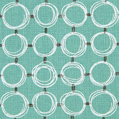 Grüner Baumwollstoff mit Kreisen -