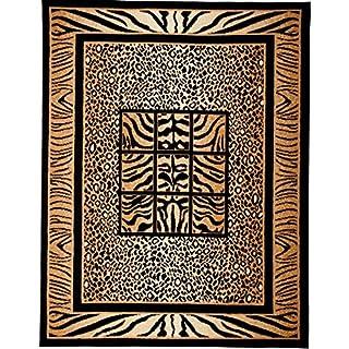 Moderner Designer Teppich Afrika Muster in Schwarz Tiermuster Preishammer Viele Größen (60x100 cm)