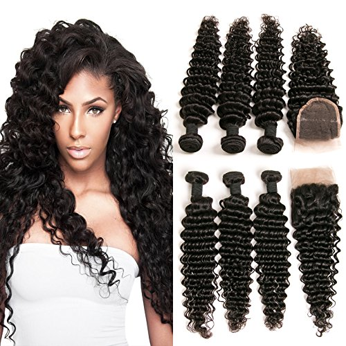Hair Extensions In Bundles (DAIMER Lace Closure Echthaar Frontal Deep Wave Free Part Silk Base with Brazilian Remy Human Hair 3 Bundles Extension Weave Weft Total 340g Natural Color 14 16 18 +12 Inches)
