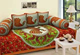 #4: Fresh from Loom CottonTraditional Exclusive Design Pure Cotton Diwan Set - 6pc, Marron