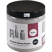 Rayher 34329000 Béton créatif, en pâte, gris, 1 pot, 250ml, effet béton pour surfaces diverses, arts créatifs