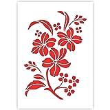 QBIX Pochoir Fleur - Pochoir Fleurs - Pochoir Fleur & Feuilles - Taille A5 - Pochoir Bricolage réutilisable pour Enfants, pou