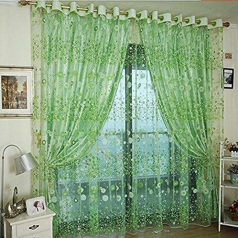 LCLrute Blütenblatt Vorhang Tüll Fenster Behandlung Voile Drapieren Valance 1 Stoff Stoff (Grün)