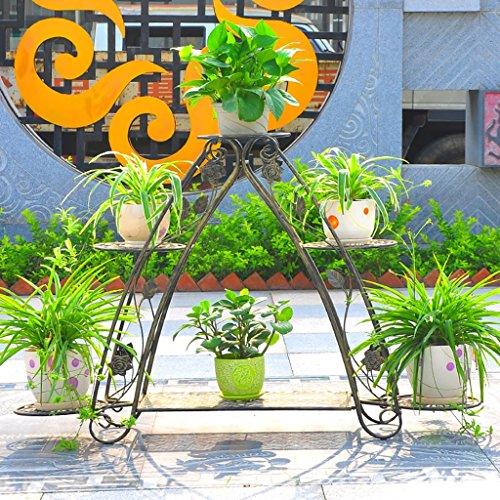 Racks GBY Fleur Etagère Étagère Fleur Verte Salon Plancher Type étagère Fleur Verte Multi-étages étagère étagère européenne (Couleur : Bronze)