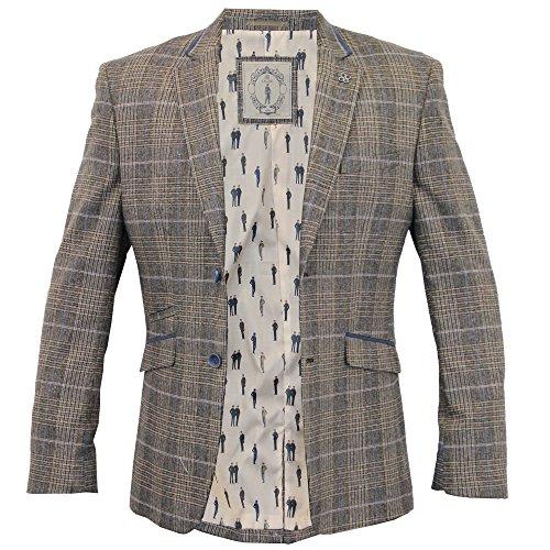 Hommes Blazer Cavani Manteau Smoking Veste De Costume En Épi À Carreaux Designer Doublé Gris - TEZORA