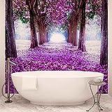 Blumen-Baum-Pfad Lila - Wallsticker Warehouse - Fototapete - Tapete - Fotomural - Mural Wandbild - (2379WM) - DOOR - 211cm x 90cm - VLIES (EasyInstall) - 1 Piece