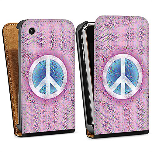 Apple iPhone 5s Housse Étui Protection Coque Peace Hippie paix couleurs Sac Downflip noir