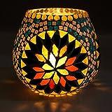 CraftVatika Mosaik Glas Teelichthalter Kerzenhalter, metall, Stil 1, 7 x 7 x 9