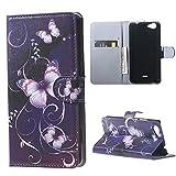 DETUOSI Etui für Wiko Rainbow Jam Hülle Leder Case Tasche Handyhülle im Bookstyle mit Standfunktion Schutzhülle für Wiko Rainbow Jam (12,4 cm (5 Zoll)) Smartphone - Lila Schmetterling