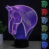 3D Pferdekopf LED Nachtlicht, kreative 3D Illusion Pferdekopf-Effekt USB Lade LED Nachtlampe mit 7 Farben für Home / Office Dekorationen, Touch Tisch Schreibtischlampe, Spielzeug und Geschenke für Kinder
