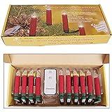 10er LED Christbaumkerzen kabellos Weihnachtskerzen Weihnachtsbaum Lichterkette, Farbe:rot