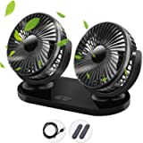 Qisiewell - Ventilatore per auto con 3 velocità, doppia ventola, rotazione a 360°, regolabile, per casa, ufficio, colore…