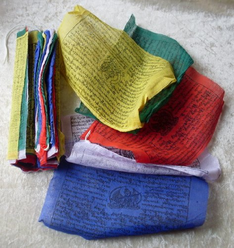 FAIR TRADE NEPALESE TIBETAN BUDDHIST WIND HORSES COTTON PRAYER FLAGS - 25 STRING 22CM x 16CM by NATURAL FLOW