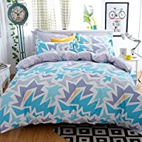 Ahmedabad Cotton Cotton Double Duvet Cover with Zipper -90 x 100 Inches, Blue and Grey