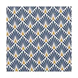 Tissu coton cretonne écailles dorées - Bleu pétrole - PAR 50CM