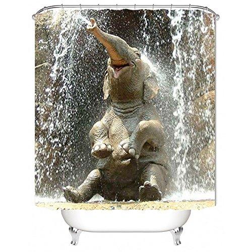 Nibesser Duschvorhang Anti-Schimmel wasserdichter Textil Duschvorhang Elefant Digitaldruck mit 12 Duschvorhangringe für Badezimmer (180cmx200cm)