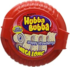 Wrigley's Hubba Bubba Snappy Strawberry Mega Long Chewing Gum, 56G (Pack Of 3)