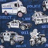 Dunkelblauer Stoff mit Polizeifahrzeugen von Quilting