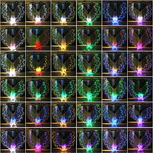 Licht Glow Kostüm Stick - Byjia Bauchtanz LED Isis Wings Glow Leuchten Kostüme Mit Sticks,F