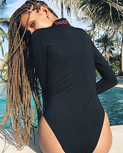 Donna Manica Lunga Cerniera Stampato Body Elasticizzato Donna Body Top Nero