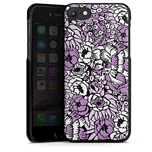 Apple iPhone X Silikon Hülle Case Schutzhülle Flower Muster Lila Hard Case schwarz