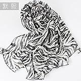 YRXDD Schwarz und Weiß Zebra Streifen Seide Schals Mädchen im Frühjahr und Herbst Wildkräuter Schal Langen Seidenschal extrahieren