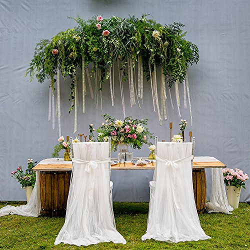 Yunt 2pcs copri sedia matrimonio voile diy decorazione per compleanno/cerimonia/parte/banchetto bianco
