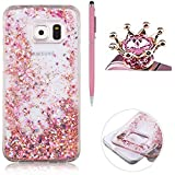 Coque Pour Samsung Galaxy S7 Edge, SKYXD Fluide Liquide Coque Ultra Slim SOUPLE Étoiles Étui Housse Bling Glitter Sparkles Coque Liquid Crystal Premium Back Case Transparente Coque Pour Samsung Galaxy S7 Edge-- Rose Or