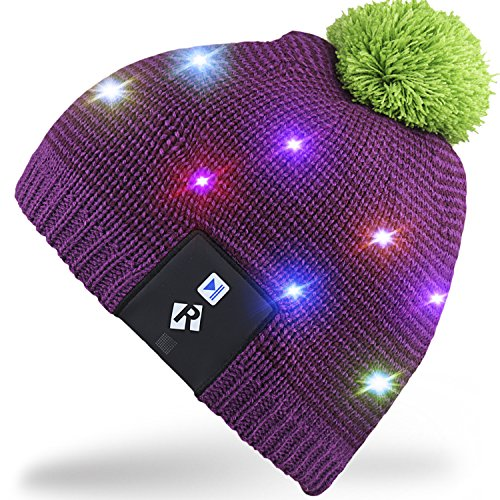 Rotibox LED String Light Up Beanie cappello a maglia con fili di rame Luci colorate 15 LED per i bambini Indoor e Outdoor Festival Festività Festività Feste Regali di Natale - Viola