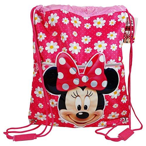 Disney Minnie Flower Sacca con Cordoncini Capiente per Bambini uso Scuola e Tempo Libero, Multiuso