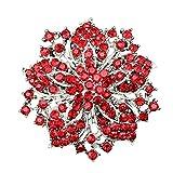 Contever Modeschmuck Fancy Broschen Damen Strass Bling Kristall Blühen Blume Gruppe Brosche Anstecknadeln - Rot