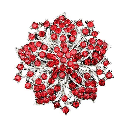 Contever Modeschmuck Fancy Broschen Damen Strass Bling Kristall Blühen Blume Gruppe Brosche Anstecknadeln -- Rot