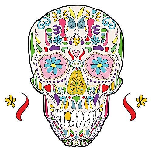 Wandtattoo Wandsticker Totenkopf mit bunten Ornamenten Schädel zum Kleben Skull (Mädchen Für Skulls)