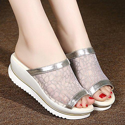 De Zyushiz Alto De Sapatos As Salto Espessura De Sandálias Com Filipinas Chinelos Mulheres 37eu Malha 1vrqw1