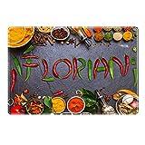 Tischset mit Namen ''Florian'' Motiv Chili - Tischunterlage, Platzset, Platzdeckchen, Platzunterlage, Namenstischset