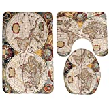 RedBeans Badteppich, Map Old World Map Kartographie Geographie Badezimmer Teppich Teppich, Antirutschmatte 3-Teiliges Badezimmer Set