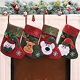 XinXu 4 Pack Mini Calcetines de Navidad para Regalo y Bolsa de Tratamiento, para Regalos y decoración